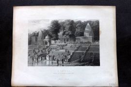 Fisher (Pub) 1844 Antique Print. A Suttee, India